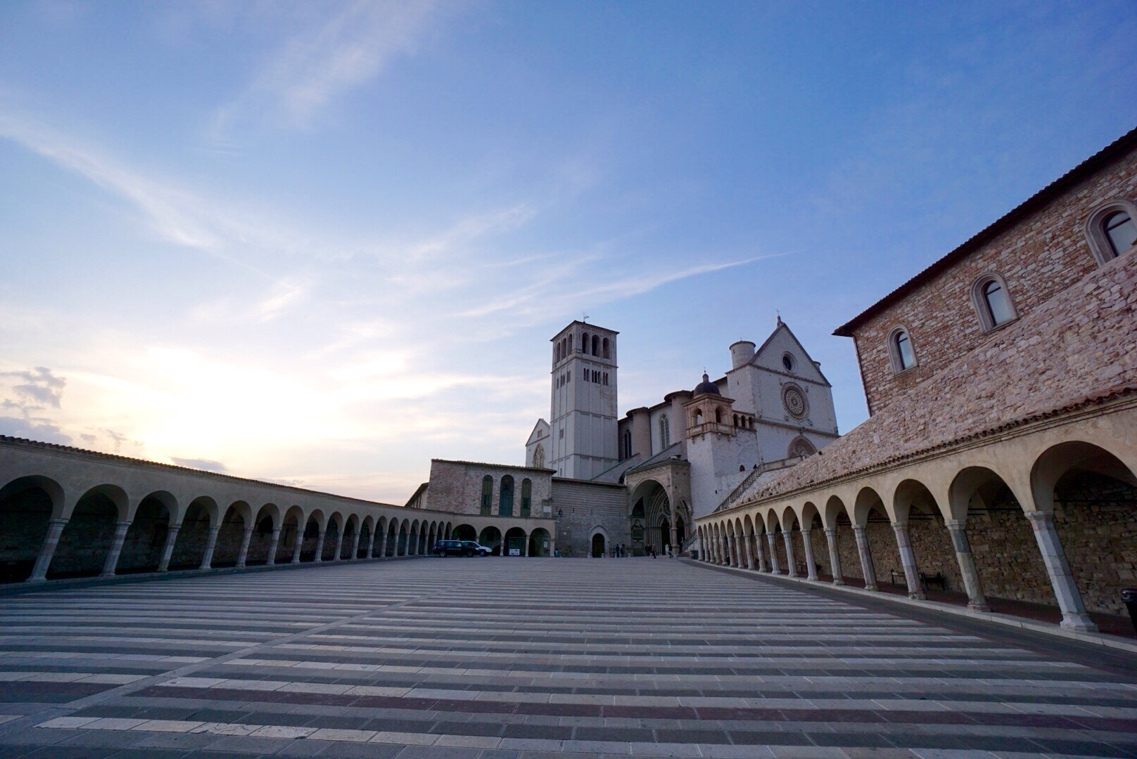 the basillica de san fernando in Assisi  at sunset in April